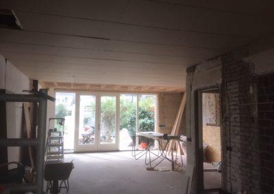 stucgipsplaten in de woonkamer keuken